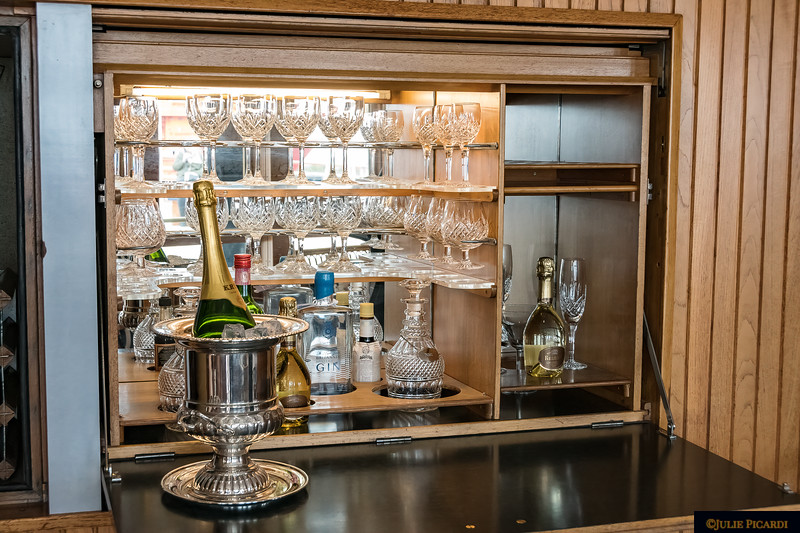 Crystal cabinet in the Sun Lounge.