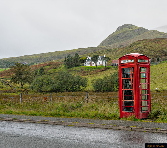 A phone booth in the middle of nowhere but near the town of Staffin