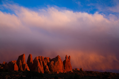 Devil's Garden at sunset, Arches National Park, Utah