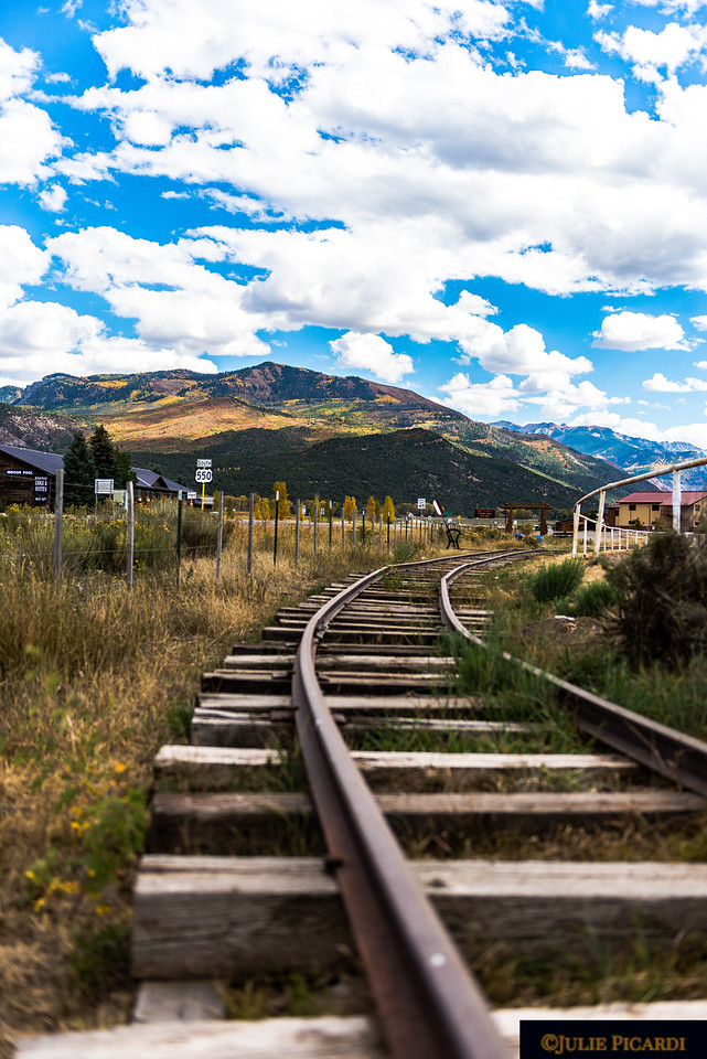The old narrow gauge track leading the way out of town.