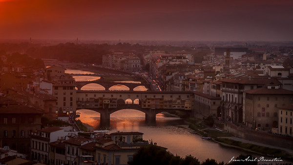 "The Ponte Vecchio (""Old Bridge"") from the Michelangelo Park, in Florence, Italy"
