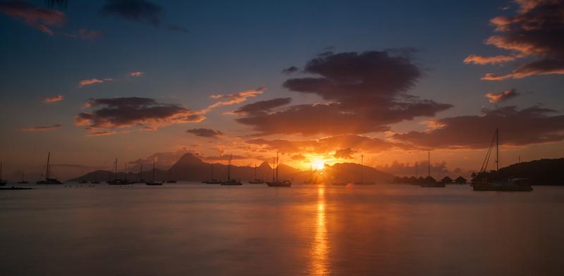 Sunset at the Former Maeva Beach Seaside, Tahiti, French Polynesia