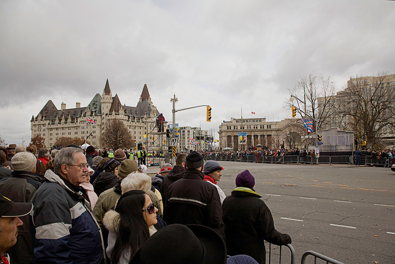 I was in Ottawa on Remembrance Day. The ceremony was to start at 11am. I got to the National War Memorial about an hour early get a good spot, but the crowd was already six deep.