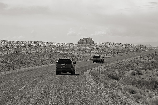 <i>Driving to Goblin Valley in our Secret Service suburbans.</i>   We then headed for breakfast at a local diner. After breakfast we were off to Goblin Valley State Park. We shot there in the afternoon and had lunch.