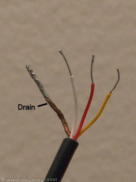 The cord is a 4 conductor cable with 2.5mm plug. The wires are red, yellow, white, and drain.