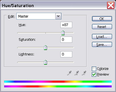Add a Hue/Saturation layer.<br /> Set Hue to +87.