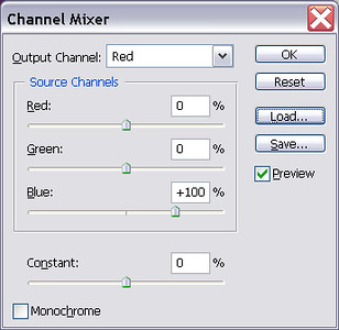 Open PSD file in Photoshop.<br /> Add channel mixer layer.<br /> Set Red channel to 0% Red, 0% Green, 100% Blue.