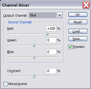 Set Blue channel to 100% Red, 0% Green, 0% Blue.
