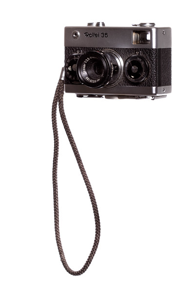 Vintage Camera Rollei-35 Left Side View w/Strap