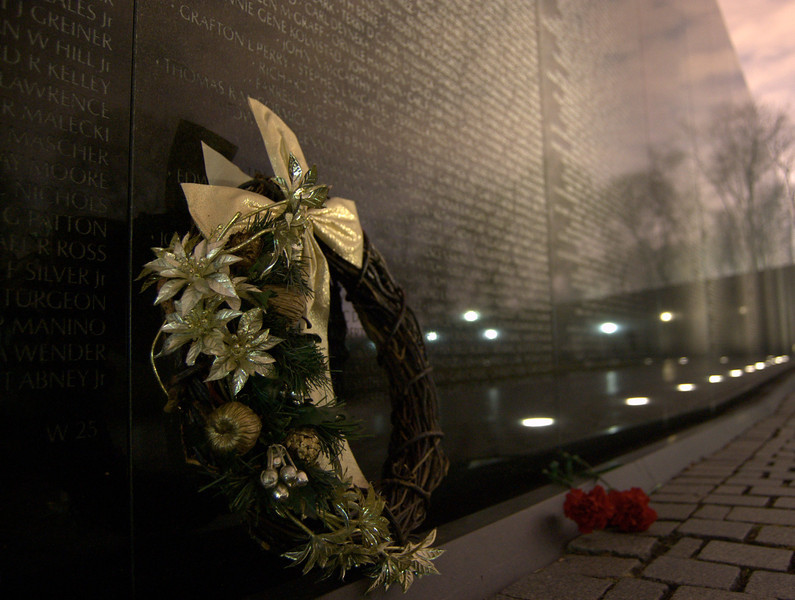 Happy holidays at the Vietnam Memorial