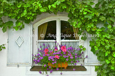 Inviting restaurant window on the Herreninsel in the Chiemsee, Bavaria.