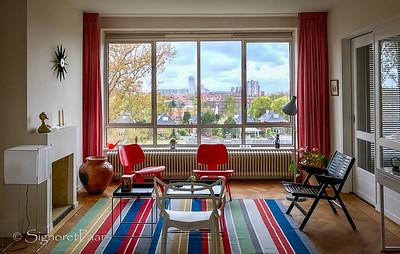 Mid-century apartment in Scheveningen, view of Den Haag (The Hague)