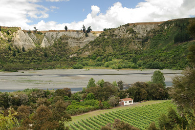 Small Bach Sandwhiched Between River and Vineyards, New Zealand