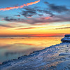 Sunrise via HDR on Lake Michigan North of Chicago 1-4-14