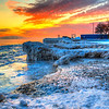 Sunrise via HDR on Lake Michigan North of Chicago 1-9-14