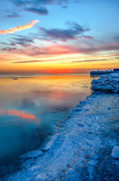 Winter Sunrise - Lake Michigan