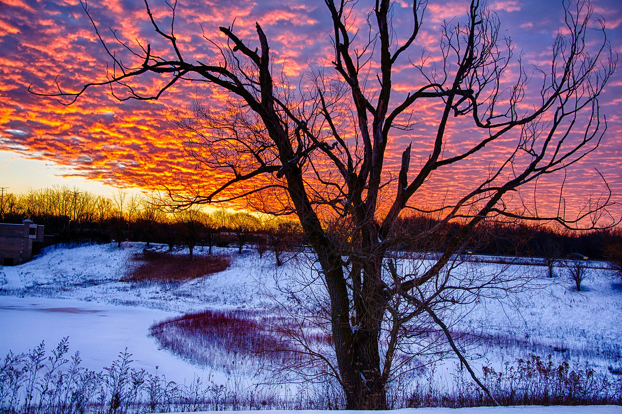 Sunrise north of Chicago on December 18th, 2013. This morning was incredible. The snow, the sky and the temps all made this very memorable. I shot 3 frames for this so I could make an HDR image of the sunrise. I really like the blue sky behind the red and orange clouds.