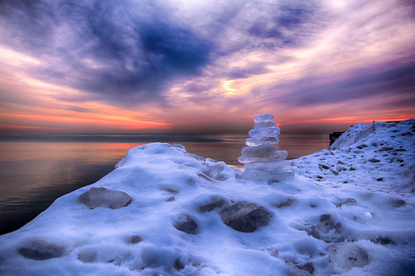 Sunrise via HDR on Lake Michigan North of Chicago 12-19-13