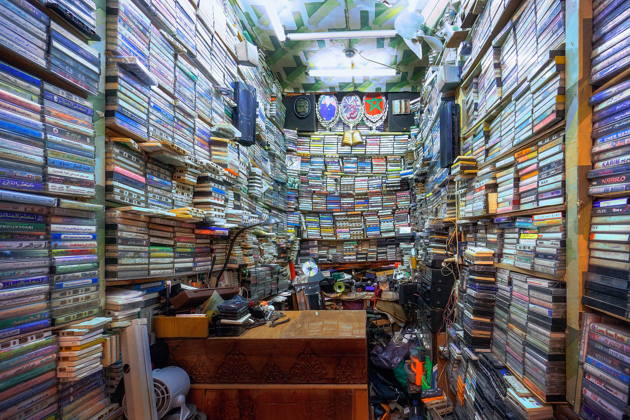 Cassette tapes shop in Marrakech Morocco - Photography workshop with Intentionally Lost and Kevin Wenning #intentionallylost