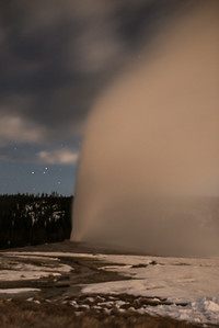 Old Faithful in the moonlight