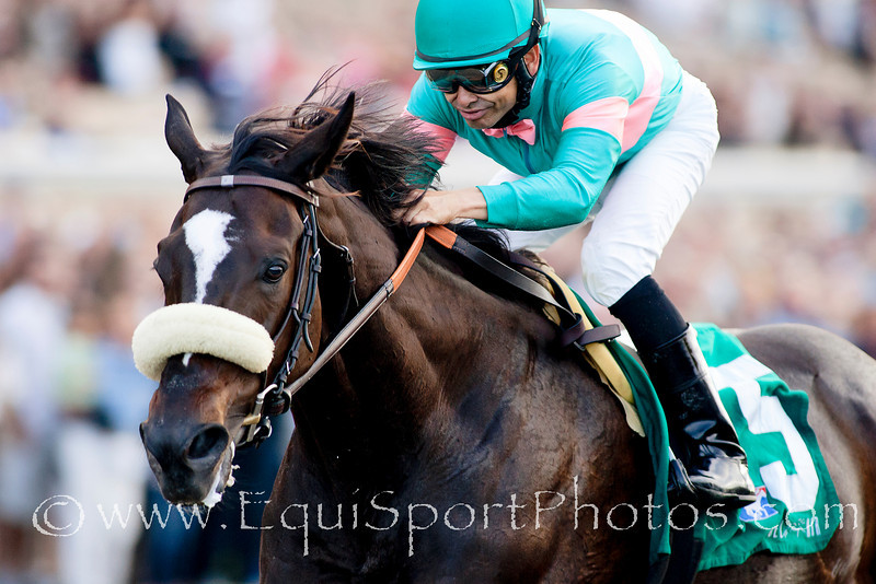 Zenyattawith Mike Smith up wins the Clement L Hirsch Stakes at Del Mar, Del Mar Calif. August 7, 2010  Please Credit Alex Evers/ Equisport Photos