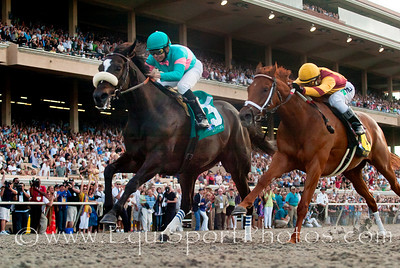Zenyatta with Mike Smith up defeats Riterval With Rafael Bejaranoto  win the Clement L Hirsch Stakes at Del Mar, Del Mar Calif. August 7, 2010  Please Credit Alex Evers/ Equisport Photos
