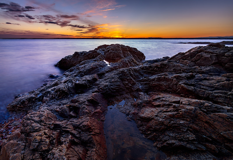 """A beautiful evening """"On The Rocks"""" at Lighthouse Point Park in New Haven, Connecticut, USA."""