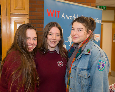 22/11/2017. Waterford Institute of Technology's (WIT) 'College Awareness Day. Pictured are Louise Casey, Alannah Szajda and  Lucy Shanahan at St Declans Community College, Kilmacthomas. Picture: Patrick Browne  Hundreds of secondary school students from across the South East celebrated College Awareness Week by attending Waterford Institute of Technology's (WIT) 'College Awareness Day' on Wednesday 22 November 2017. The events gave secondary school students a taste of college life and helped students of all ages to become 'college ready' by raising awareness of the benefits of going to college. There was an  hourly talk/workshop on how to become college ready (including presentations on college life), an expo area, and a chance to explore the campus. Students attended workshops on sport, electronics, sport and creative as well as presentations on college life at WIT, student supports, new courses for 2018, routes of entry and clubs and societies. They also got an overview of WIT's new common and broad entry courses for 2018.     Elaine Larkin Communications & PR Executive, Waterford Institute of Technology   Phone: +353 51 845577  Mobile: 087-7105148