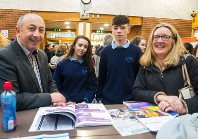 22/11/2017. Waterford Institute of Technology's (WIT) 'College Awareness Day. Pictured are Padraig Kirwan of WIT, Niamh Astley and Oisin O'Leary Linda Rogers (teacher) from Ramsgrange Community School. Picture: Patrick Browne  Hundreds of secondary school students from across the South East celebrated College Awareness Week by attending Waterford Institute of Technology's (WIT) 'College Awareness Day' on Wednesday 22 November 2017. The events gave secondary school students a taste of college life and helped students of all ages to become 'college ready' by raising awareness of the benefits of going to college. There was an  hourly talk/workshop on how to become college ready (including presentations on college life), an expo area, and a chance to explore the campus. Students attended workshops on sport, electronics, sport and creative as well as presentations on college life at WIT, student supports, new courses for 2018, routes of entry and clubs and societies. They also got an overview of WIT's new common and broad entry courses for 2018.     Elaine Larkin Communications & PR Executive, Waterford Institute of Technology   Phone: +353 51 845577  Mobile: 087-7105148