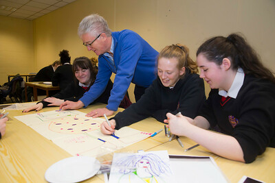 22/11/2017. Waterford Institute of Technology's (WIT) 'College Awareness Day. Pictured are  Emma Weldon, Jody Fagan, Kate Power with Declan Murphy Guidance Councellor from the Presentation Secondary School, Waterford City. Picture: Patrick Browne  Hundreds of secondary school students from across the South East celebrated College Awareness Week by attending Waterford Institute of Technology's (WIT) 'College Awareness Day' on Wednesday 22 November 2017. The events gave secondary school students a taste of college life and helped students of all ages to become 'college ready' by raising awareness of the benefits of going to college. There was an  hourly talk/workshop on how to become college ready (including presentations on college life), an expo area, and a chance to explore the campus. Students attended workshops on sport, electronics, sport and creative as well as presentations on college life at WIT, student supports, new courses for 2018, routes of entry and clubs and societies. They also got an overview of WIT's new common and broad entry courses for 2018.     Elaine Larkin Communications & PR Executive, Waterford Institute of Technology   Phone: +353 51 845577  Mobile: 087-7105148