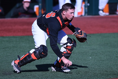 Adley Rutschman homered for the Beavers. Oregon State won 4 to 2 vs. West Virginia.  Photo for the Corvallis Gazette Times by Leon Neuschwander