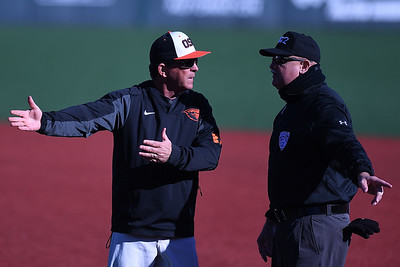 Interim Manager Pat Bailey argues a call made on a tag at first base. Oregon State won 4 to 2 vs. West Virginia.  Photo for the Corvallis Gazette Times by Leon Neuschwander