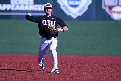 Beau Phillip was 2 for 3 with  2 home runs. Oregon State won 4 to 2 vs. West Virginia.  Photo for the Corvallis Gazette Times by Leon Neuschwander