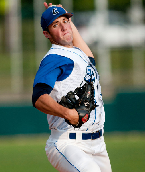 Blue team (35) Nathan Smith of the Cincinnati Steam (Furman University) Pitches in the second inning.(CincySportsZone/Scott Davis)