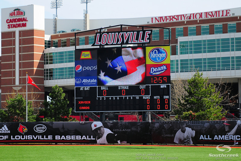 Div. 1 NCAA baseball game between the Louisville Cardinals and the Xavier Musketeers at the Jim Patterson Stadium in Louisville, KY. (19) Louisville Cardinals defeated the Xavier Musketeers 3-0.