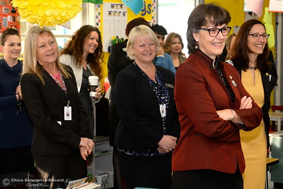 Butte County Educational leaders smile as they are introduced to Becky Perry's kidergarten class as they gather at Little Chico Creek Elementary School in Chico, Calif. to sign the Butte County Promise Thursday Feb. 1, 2018. The Promise is to all students in Butte County for an opportunity at a college education. (Bill Husa -- Enterprise-Record)