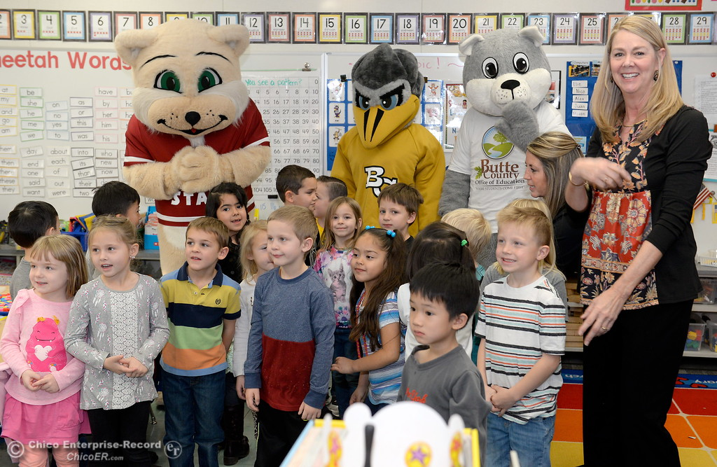 . Kidergarten students in Margie Werner\'s class smile with mascots as Butte County Educational leaders gather at Little Chico Creek Elementary School in Chico, Calif. to sign the Butte County Promise Thursday Feb. 1, 2018. The Promise is to all students in Butte County for an opportunity at a college education. (Bill Husa -- Enterprise-Record)