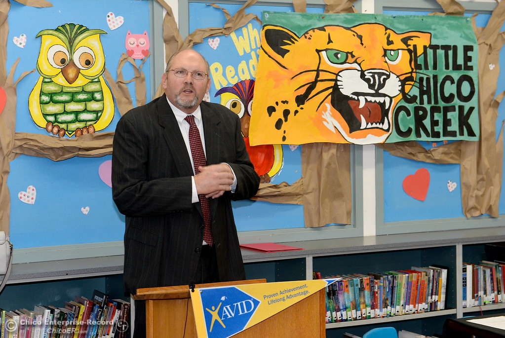 . Corey Willenberg, Superintendent of Oroville Union High School District speaks as Butte County Educational leaders gather at Little Chico Creek Elementary School in Chico, Calif. to sign the Butte County Promise Thursday Feb. 1, 2018. The Promise is to all students in Butte County for an opportunity at a college education. (Bill Husa -- Enterprise-Record)