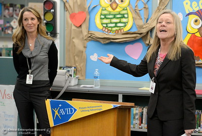 Kristin Schrock, Principal at Little Chico Creek Elementary School left and CUSA Superintendent Kelly Staley talk as Butte County Educational leaders gather at Little Chico Creek Elementary School in Chico, Calif. to sign the Butte County Promise Thursday Feb. 1, 2018. The Promise is to all students in Butte County for an opportunity at a college education. (Bill Husa -- Enterprise-Record)