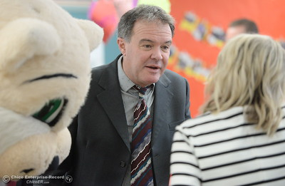 BCOE Superintendent Tim Taylor talks with kindergarten teacher Becky Perry as Butte County Educational leaders gather at Little Chico Creek Elementary School in Chico, Calif. to sign the Butte County Promise Thursday Feb. 1, 2018. The Promise is to all students in Butte County for an opportunity at a college education. (Bill Husa -- Enterprise-Record)