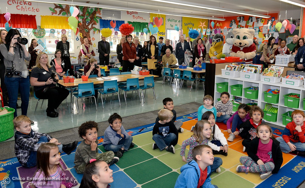 . Butte County Educational leaders gather in Becky Perry\'s kindergarten class at Little Chico Creek Elementary School in Chico, Calif. as they prepare to sign the Butte County Promise Thursday Feb. 1, 2018. The Promise is to all students in Butte County for an opportunity at a college education. (Bill Husa -- Enterprise-Record)