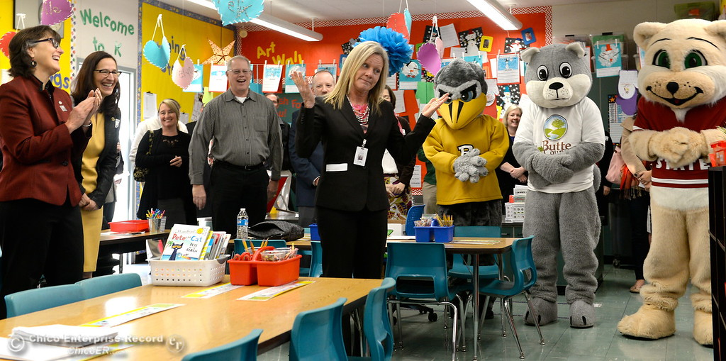 . Butte County Educational leaders gather at Little Chico Creek Elementary School in Chico, Calif. to sign the Butte County Promise Thursday Feb. 1, 2018. The Promise is to all students in Butte County for an opportunity at a college education. (Bill Husa -- Enterprise-Record)