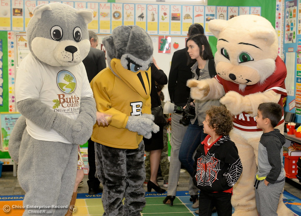 . Kindergarteners check out the mascots from Butte College, Chico State and BCOE as Butte County Educational leaders gather at Little Chico Creek Elementary School in Chico, Calif. to sign the Butte County Promise Thursday Feb. 1, 2018. The Promise is to all students in Butte County for an opportunity at a college education. (Bill Husa -- Enterprise-Record)