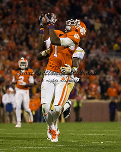 Clemson Tigers wide receiver Martavis Bryant (1) makes a catch over Georgia Tech Yellow Jackets defensive back Jemea Thomas (14)