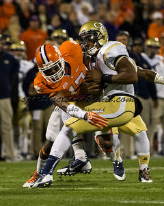 Georgia Tech Yellow Jackets quarterback Vad Lee (2), Clemson Tigers defensive back Bashaud Breeland (17)