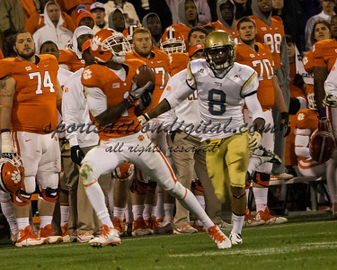 Clemson Tigers wide receiver Martavis Bryant (1) catches a 3rd quarter touchdown pass over Georgia Tech Yellow Jackets cornerback Louis Young (8)