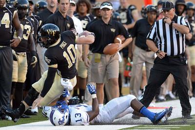Tanner Price tackled sideline