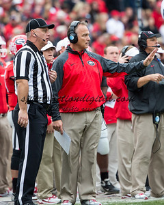 Georgia Bulldogs head coach Mark Richt questions the ruling after Appalachian State recovered Herrera's fumble
