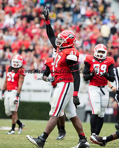 Georgia Bulldogs defensive end Ray Drew (47) celebrates his sack