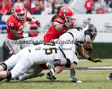 Appalachian State Mountaineers running back Marcus Cox (14), Georgia Bulldogs linebacker Ramik Wilson (51)
